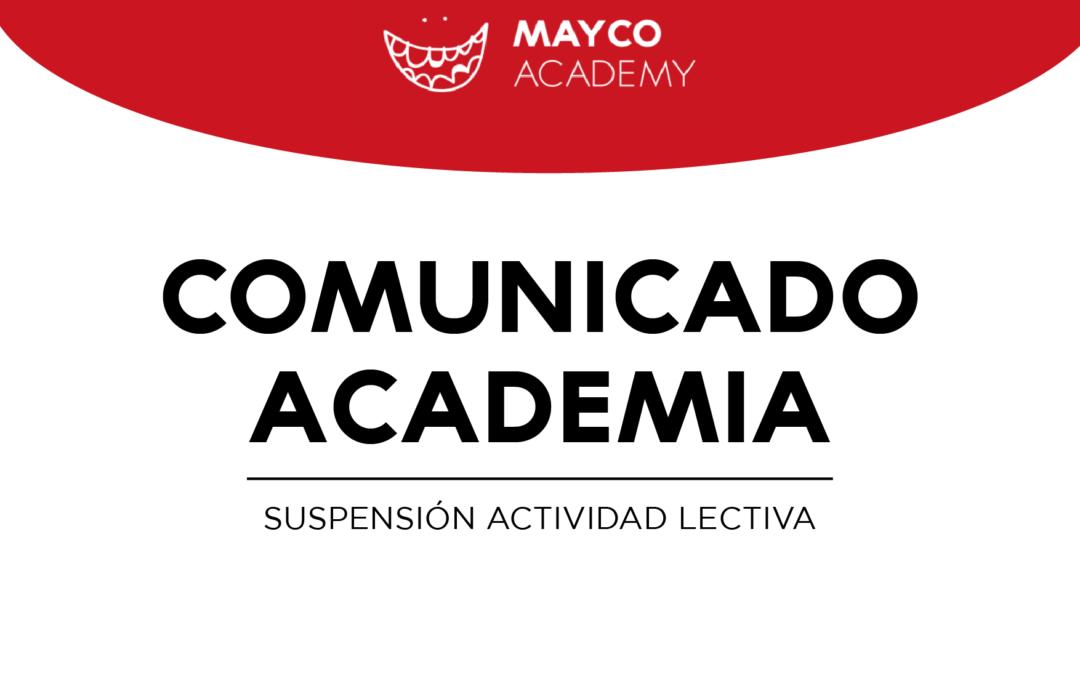 ACADEMIA – Comunicado Suspensión actividad lectiva