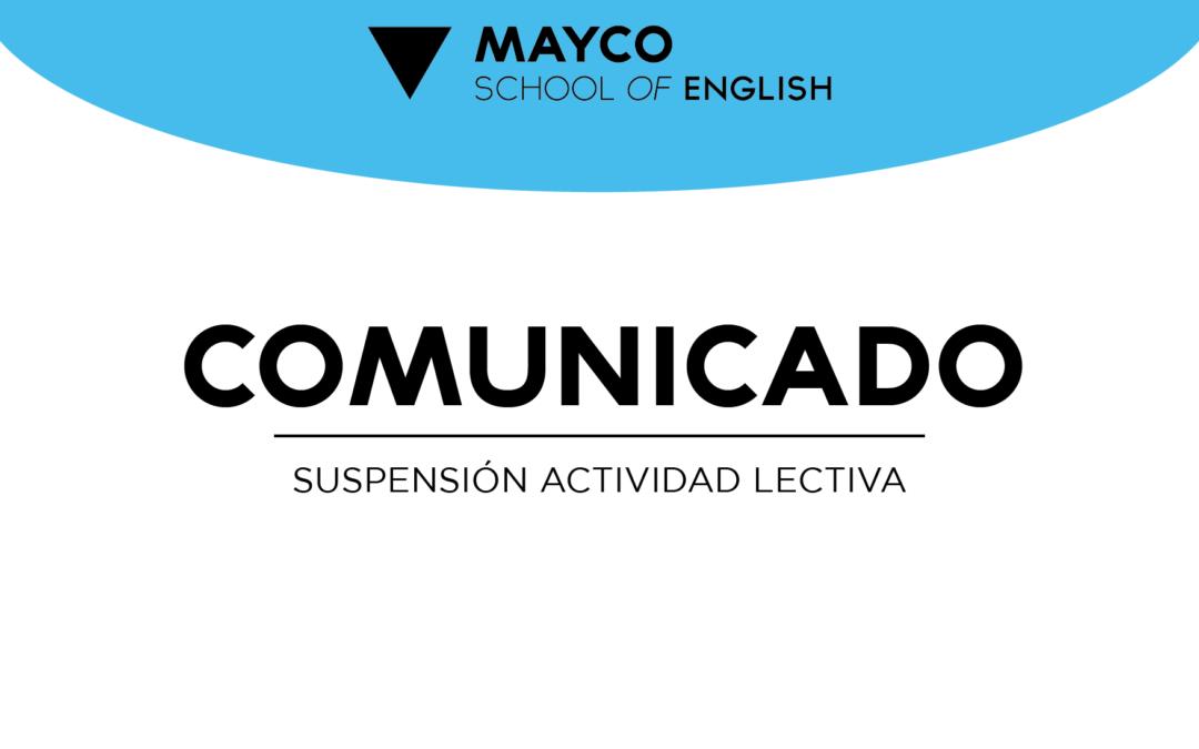 COLEGIO – Comunicado Suspensión actividad lectiva